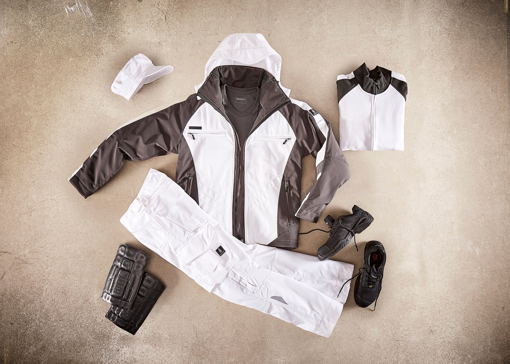 Collage - Veste grand froid, Pantalon, Sweat & Chaussures de sécurité basses - Blanc